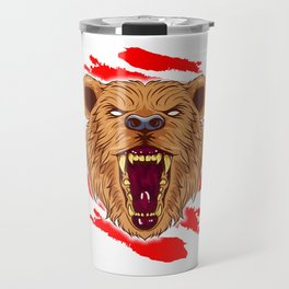Angry Roaring Bear Design for Wild Animal and Bear Lover Travel Mug