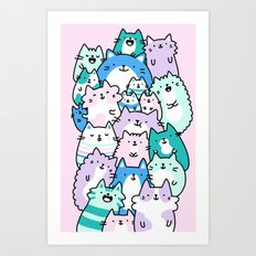 Pastel Pile of Cats Art Print