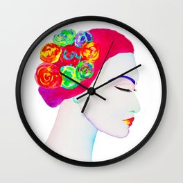 The Girl with the Flowers in her Hair Wall Clock