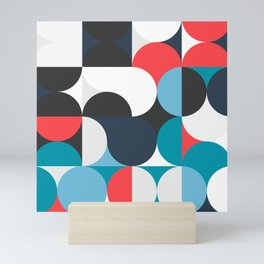 Circles Curves Shapes, Abstract and Geometry, Red, White, blues, black Mini Art Print
