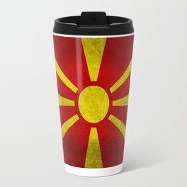 Flag of Macedonia in Super Grunge Travel Mug