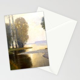 Landscape with Birches by Vilhelms Purvītis - Latvian Lettish Fine Art - Purvitis Stationery Cards