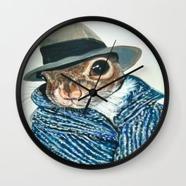 Agent Squirrel Original Acrylic Painting Wall Clock
