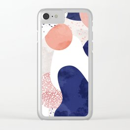 Terrazzo galaxy pink blue white Clear iPhone Case