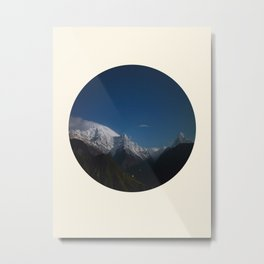 Snow Mountains Against A Blue Sky Circle Photo Metal Print