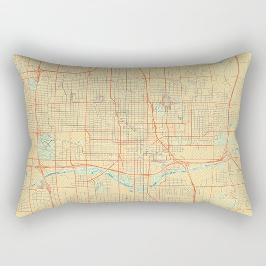 Oklahoma City Map Retro Rectangular Pillow
