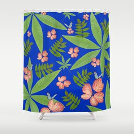 Leaves on Blue Shower Curtain