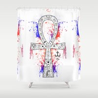 egypt Shower Curtains featuring Egypt ankh 1 by LSjoberg