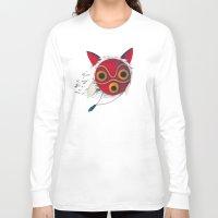 mononoke Long Sleeve T-shirts featuring Mononoke Mask  by Puddingshades