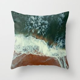 aerial view of seashore at daytime Throw Pillow