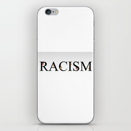Word racism showing unity amongst faces of women of different skin color iPhone Skin