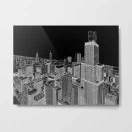 Chicago in BW Metal Print
