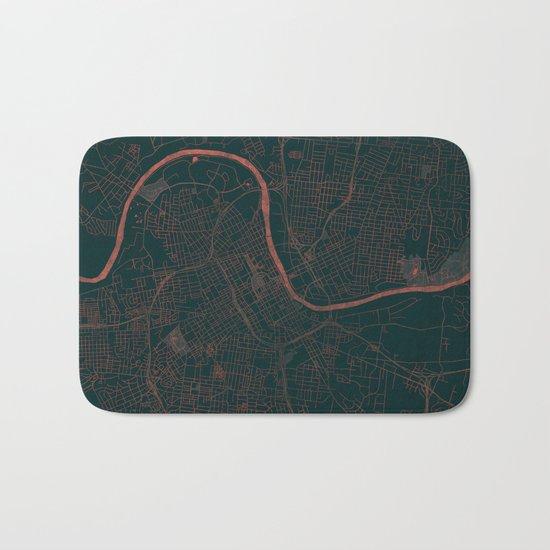 Nashville Map Red Bath Mat
