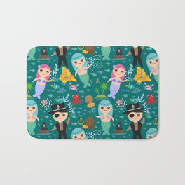 Mermaid with pirate, dark blue sea background Bath Mat