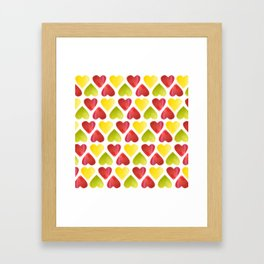 Apple colorful hearts pattern Framed Art Print