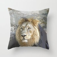 the lion king Throw Pillows featuring Lion King by MehrFarbeimLeben