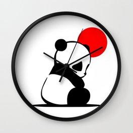 Shy Panda in the Red Sun Wall Clock
