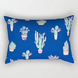 Little cactus pattern - Princess Blue Rectangular Pillow