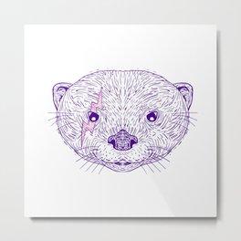 Otter Head Lightning Bolt Drawing Metal Print