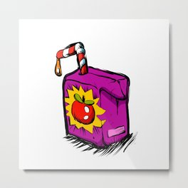 Smiling apple juice box . Metal Print