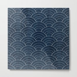 Navy Sashiko waves pattern Metal Print