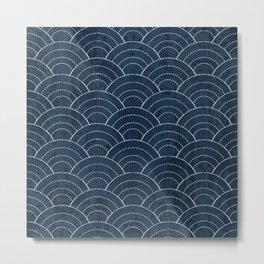 Navy Sashiko waves pattern Metal Print