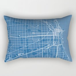 Chicago City Map of the United States - Blueprint Rectangular Pillow