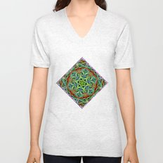 Feathered texture mandala in green and brown Unisex V-Neck