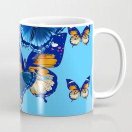 MODERN ART DECORATIVE BLUE-BROWN  BUTTERFLIES Coffee Mug