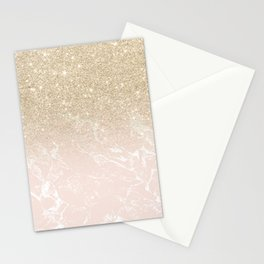 Modern champagne glitter ombre blush pink marble pattern Stationery Cards