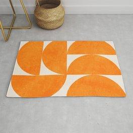 Geometric Shapes orange mid century Rug