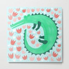 Alligator Loves Tulips Metal Print