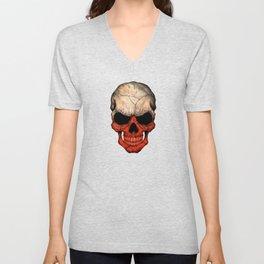 Dark Skull with Flag of Poland Unisex V-Neck