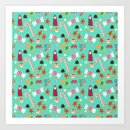 Christmas Sweeties Candies, Peppermints, Candy Canes and Chocolates on Aqua Art Print