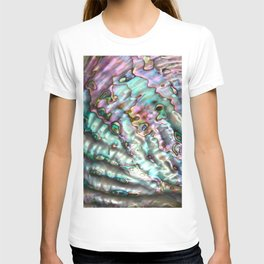 Glowing Cotton Candy Pink & Green Abalone Mother of Pearl T-shirt
