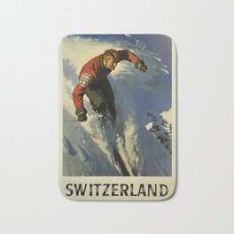 Switzerland Skiing - Vintage Poster Bath Mat