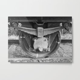 Black and white photography Old train wheel Metal Print