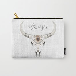 Stay Wild Boho Skull Illustration Carry-All Pouch