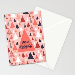 Living Coral snowy Christmas trees pattern Stationery Cards
