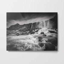 Oxararfoss Waterfall, Iceland Metal Print