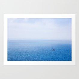 White yacht blue sea Art Print