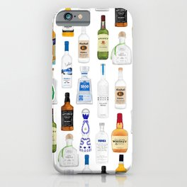 Tequila, Whiskey, Vodka Bottles Illustration iPhone Case