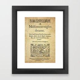 Shakespeare. A midsummer night's dream, 1600 Framed Art Print