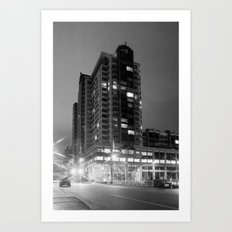 Downtown Bellevue at Night - In Black & White Art Print