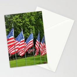 Flags Flying in Memoriam II Stationery Cards