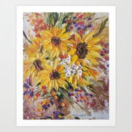 Sun Flowers, Sun Flower, Yellow Flowers, Bouquet of Flowers Art Print