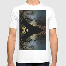 Night Fall by The Tree White Mens Fitted Tee MEDIUM
