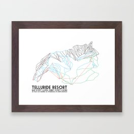 Telluride, CO - Minimalist Trail Maps Framed Art Print