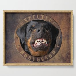 Executive bodyguard Angry rottweiler Serving Tray