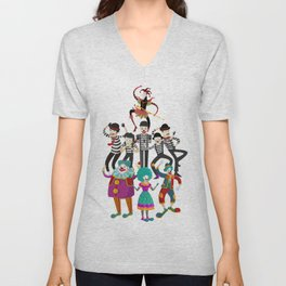 clowns and mimes Unisex V-Neck